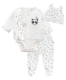 Mac and Moon 4-Piece Layette Set with Bear-Eared Cap, Footed Pants, Short Sleeve Bodysuit and Cardigan