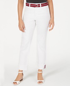 Charter Club Belted Tummy-Control Cuffed Jeans, Created for Macy's