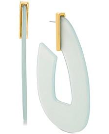 Women's Turquoise Acrylic Hoop Gold-Tone Earrings