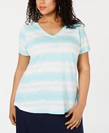 Style & Co Plus Size Tye Dye Striped Top, Created for Macy's