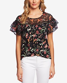 CeCe Printed Tiered-Sleeve Top