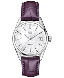 Women's Swiss Carrera Purple Alligator Leather Strap Watch 36mm