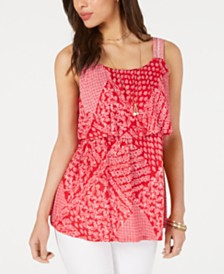 Style & Co Printed Flounce Tank Top, Created for Macy's