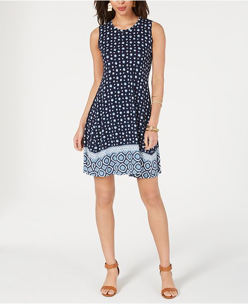 Style & Co Border Print Sleeveless Dress, Created for Macy's