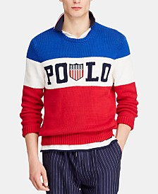 Polo Ralph Lauren Men's Striped Logo Chariots Sweater