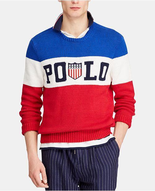 Polo Ralph Lauren Men's Striped Logo Chariots Sweater