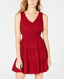 Juniors' Tiered Tie-Back A-Line Dress