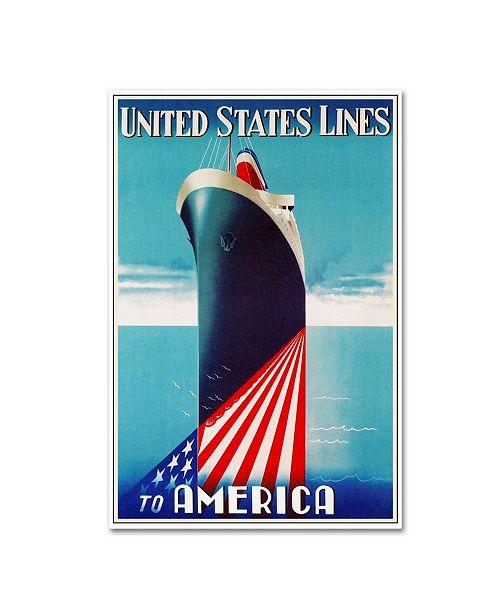 "Trademark Global Vintage Lavoie 'Travel Ship 125' Canvas Art - 24"" x 16"" x 2"""