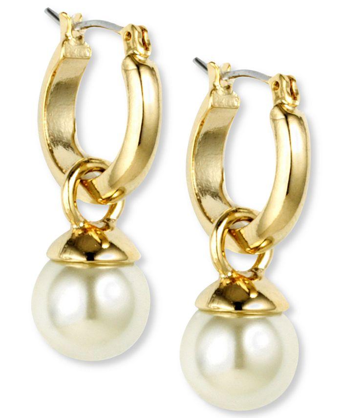 Anne Klein - Gold-Tone Imitation Pearl Drop Off Hoop Earrings
