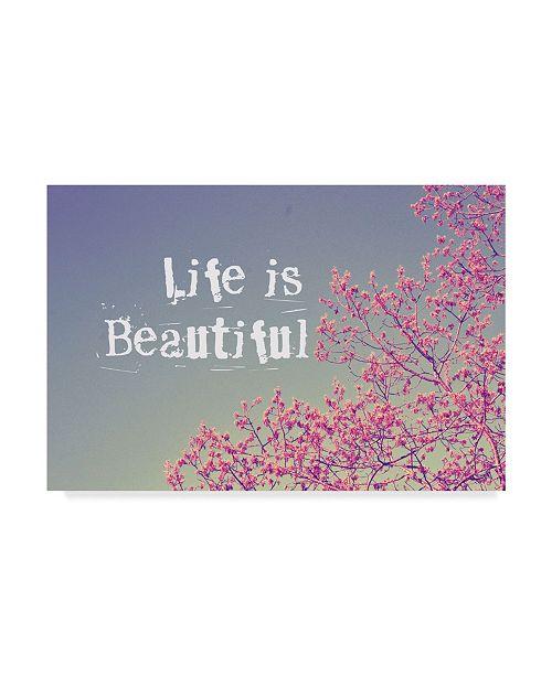 "Trademark Global Vintage Skies 'Life Is Beautiful' Canvas Art - 32"" x 22"" x 2"""