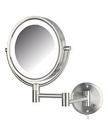 "The Jerdon HL88NL 8.5"" LED Lighted Wall Mount Makeup Mirror"