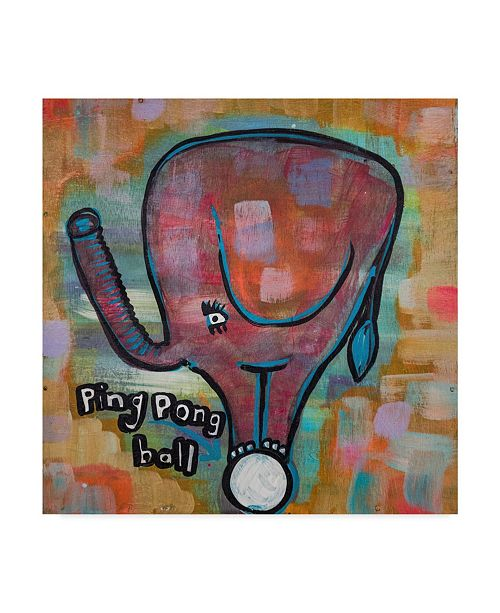"Trademark Global Zwart 'Elephant Ping Pong Ball' Canvas Art - 24"" x 24"" x 2"""
