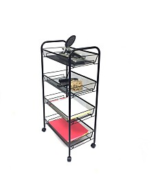 Mind Reader All-Purpose Utility Cart with Wheels, Heavy Duty Trolley, Light Weight Cart, Kitchen, Office, Bathroom, Home