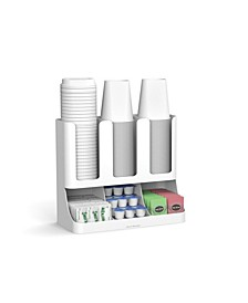6 Compartment Upright Breakroom Coffee Condiment and Cup Storage Organizer