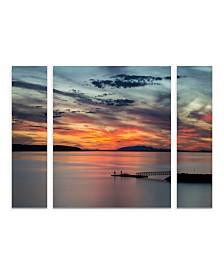 "Pierre Leclerc 'Sunset Pier' Multi Panel Art Set Small 3 Piece - 44"" x 34"" x 2"""