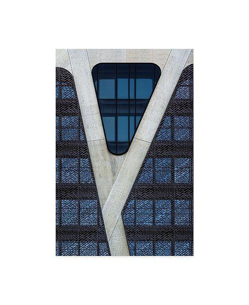 "Trademark Global Jef Van Den 'Blue Triangle' Canvas Art - 16"" x 2"" x 24"""