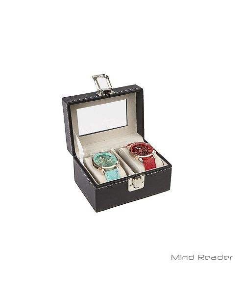 Mind Reader Watch Box Organizer Case, Fits 2 Watches, Mens Jewelry Display Drawer Storage, PU Leather