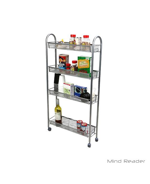 4 Tier Slim and Tall Kitchen Trolley Utility All Purpose Cart