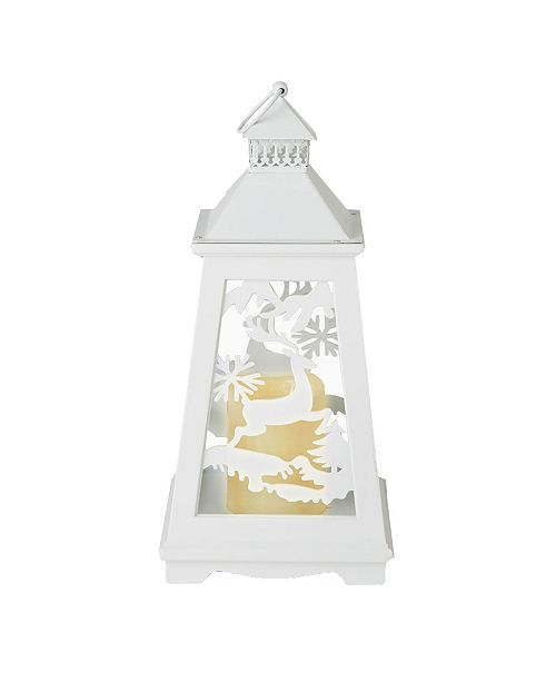 Mind Reader Wood Lantern with Realistic Flickering Flameless Candle