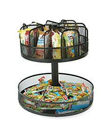 2 Tier Lazy Susan Granola Bar and Snack Organizer,Home, Office, Breakroom Metal Mesh