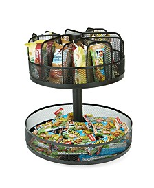 Mind Reader 2 Tier Lazy Susan Granola Bar and Snack Organizer,Home, Office, Breakroom Metal Mesh