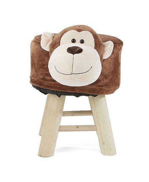 Mind Reader Children's Favorite Monkey Animal Stool, Chair, Ottoman, Foot Rest