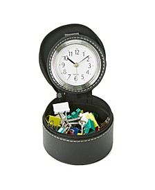 Single Compartment Desk Organizer with Attached Watch