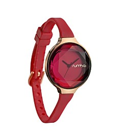 RumbaTime Orchard Gem Cranberry Silicone Band Watch