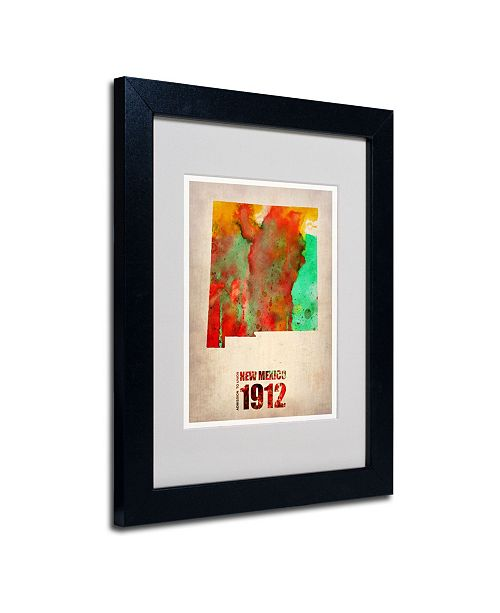 """Trademark Global Naxart 'New Mexico Watercolor Map' Matted Framed Art - 14"""" x 11"""" x 0.5"""""""