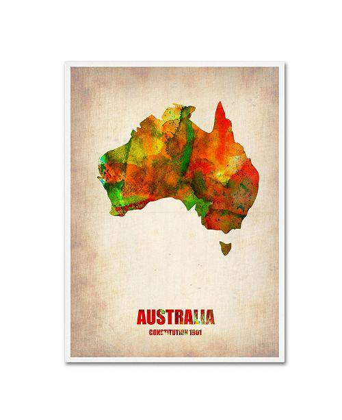 "Trademark Global Naxart 'Australia Watercolor Map' Canvas Art - 35"" x 47"" x 2"""