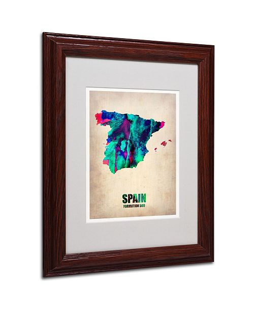 "Trademark Global Naxart 'Spain Watercolor Map' Matted Framed Art - 11"" x 14"" x 0.5"""