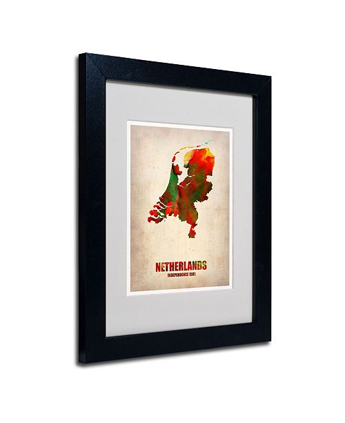 """Trademark Global Naxart 'Netherlands Watercolor Map' Matted Framed Art - 14"""" x 11"""" x 0.5"""""""