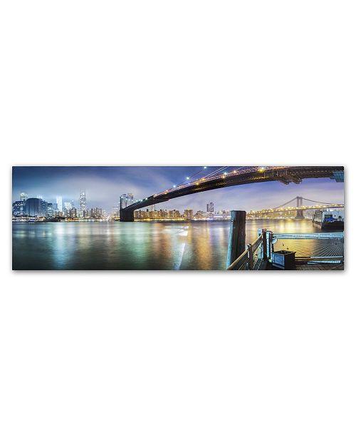 "Trademark Global Moises Levy 'Brooklyn Bridge Panorama' Canvas Art - 24"" x 8"" x 2"""