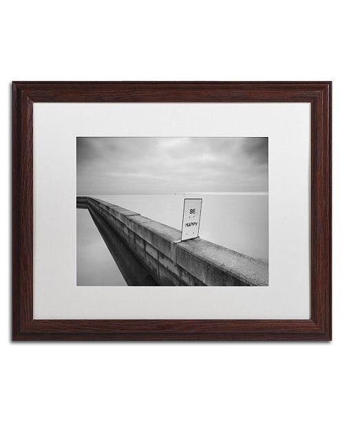 "Trademark Global Moises Levy 'Be Happy' Matted Framed Art - 20"" x 16"" x 0.5"""