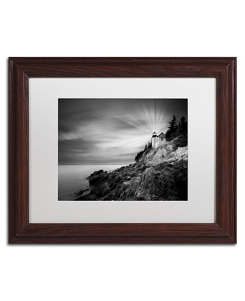 "Trademark Global Moises Levy 'Bass Harbor Lighthouse' Matted Framed Art - 14"" x 11"" x 0.5"""