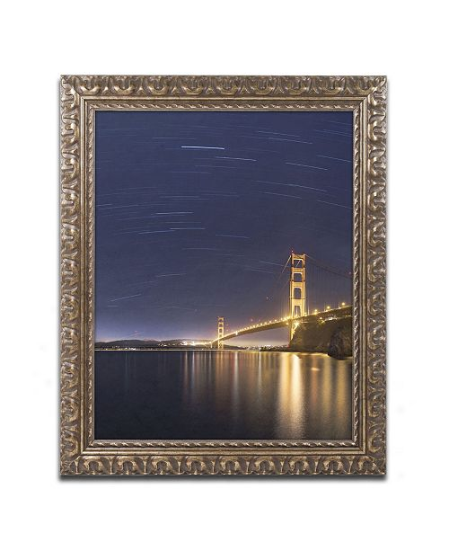 "Trademark Global Moises Levy 'Golden Gate and Stars' Ornate Framed Art - 14"" x 11"" x 0.5"""