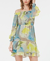 50eb3c2c6eca2 Bar III Watercolor Tie-Dye Smocked Off-The-Shoulder Dress, Created for