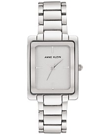 Anne Klein Women's Silver-Tone Bracelet Watch 28x35.5mm