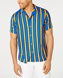 INC Men's Camp Collar Striped Shirt, Created for Macy's