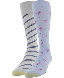 Gold Toe Men's 2-Pk. Flamingos & Stripes Socks