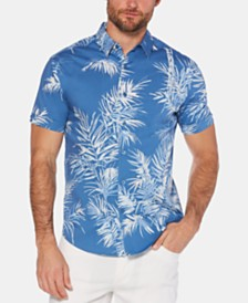 Cubavera Men's Slim-Fit Palm Print Shirt