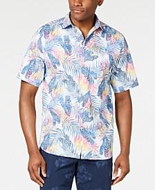Men's Pavia Palms Stretch Tropical-Print Camp Shirt