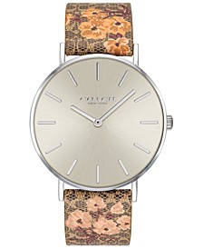 Women's Perry Brown Floral Leather Strap Watch 36mm Created for Macy's