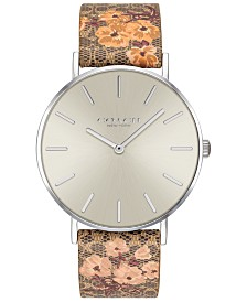 COACH Women's Perry Brown Floral Leather Strap Watch 36mm Created for Macy's