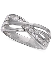 Cubic Zirconia Twist Ring in Sterling Silver, Created for Macy's