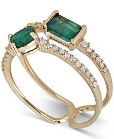 Emerald (1 ct. t.w.) & Diamond (1/6 ct. t.w.) Ring in 14k Gold
