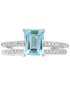Gemstone Bridal by EFFY® Aquamarine (1-3/8 ct. t.w) & Diamond (1/3 ct. t.w.) Ring in 18k White Gold