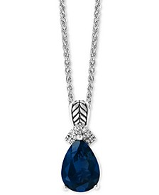 "EFFY® London Blue Topaz (3-1/2 ct. t.w) & Diamond Accent 18"" Pendant Necklace in Sterling Silver"