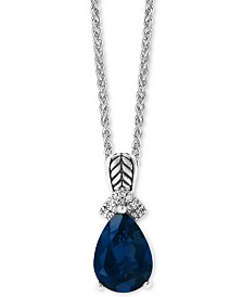 """EFFY® London Blue Topaz (3-1/2 ct. t.w) & Diamond Accent 18"""" Pendant Necklace in Sterling Silver"""