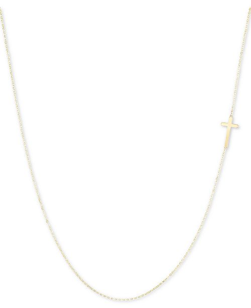 "Italian Gold East-West Cross 18"" Pendant Necklace in 10k Gold"